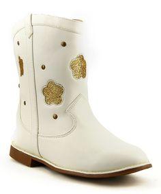 Love this White Glitter Flower Cowboy Boot on #zulily! #zulilyfinds