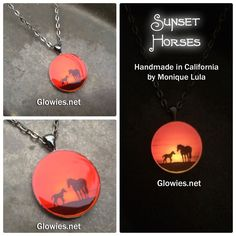 "Inspired by my Sunset glow I wanted to create a glow art necklace with a pair of horses illuminated by the bright sun setting down on the horizon. Like many of my art necklaces I use an adult horse with a younger horse being led by the parent.My Sunset Horses glow a variety of colors after being exposed to sunlight and then worn in the dark. My daughter has been asking to go on a ""safari"" for awhile now, she loves animals and even  horses so I came up with the idea of a sunset safar..."