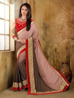 Light Pink and Brown Georgette Saree with Lace Work