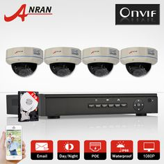 4CH POE NVR CCTV System Onvif P2P 4pcs 1080P HD Vandalproof Dome IR IP Camera POE Video Surveillance Camera Security Kit 2TB HDD