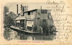 1906 Steamboat Annie P Denison Texas Postcard Denison Texas, Steampunk Movies, Lake Texoma, Steam Boats, Steampunk Festival, Paddle Boat, Alternate History, The Old Days, Power Boats