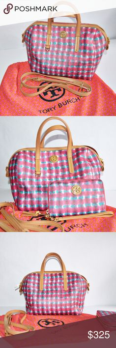 Tory Burch Kerrington Satchel & Wallet Tory Burch Kerrington satchel & matching wallet in Sonda. Absolutely beautiful bag. Perfect for spring & summer. So many compliments. Lovely pink, blue, purple, & white in color with tan straps. Has interior stain that is minor and can be seen in pictures on the inside. In loved, & cared for condition. Comes with bag, wallet, crossbody strap, & dust cover. Bag retails for $395 + taxes. Wallet retails for $135 + taxes. Tory Burch Bags Satchels