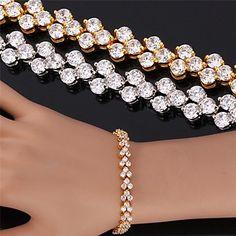 InStyle luksus aaa + zirconia kubik vintage armbånd armbånd 18k guld platin forgyldt smykker af høj kvalitet 17cm 19cm – DKK kr. 68