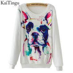 KaiTingu 2016 New Fashion Autumn Long Sleeve Flannel Women Tracksuit Hoodie Dog Print Casual Ladies Tops Pullover Sweatshirt