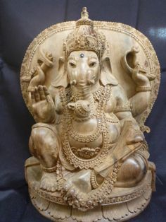 Art Sculpture Ganesha Hindu Statue Hand Carved from Sona Wood by Cokorda Raka