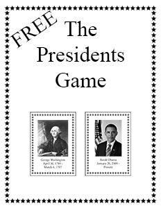 The Presidents Game - a free printable game for the whole family.
