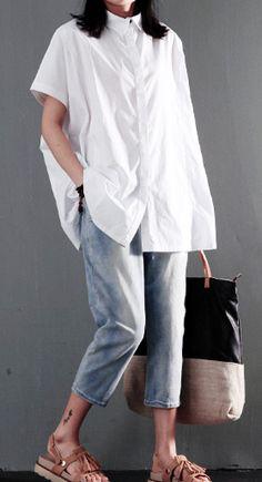 Simple white cotton women shirt plus size blouse top