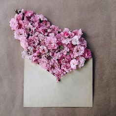 Pink flower envelope