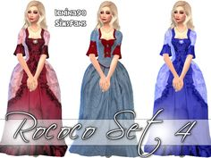 Rococo fourth historical gowns set by lenina_90 at Sims Fans via Sims 4 Updates