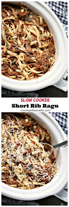 Slow Cooker Short Rib Ragu is incredibly easy to make yet tastes like a gourmet meal. This short rib ragu is sure to impress your dinner guests. #slowcooker #crockpot #pasta #dinner