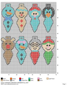 Icicle Character Christmas Tree Ornaments Pg 2/2