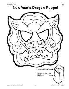 Chinese New Year begins January 23rd. Dragon mask template and resources.