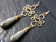 Statement Earrings, 14K Gold Filled, Pyrite Teardrop Briolette, Filigree Earrings, Teardrop Earrings, Chandelier Earrings, Wedding, Bridal