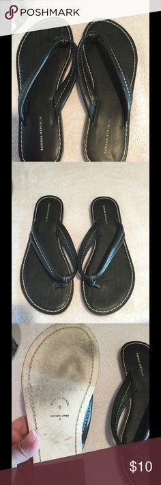 Awesome pair of black Banana Republic flip flops. Euc, leather flip flop sandals! Size 6, but would fit 6.5 also. Banana Republic Shoes Sandals