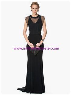 Roman siyah tül detaylı uzun abiye elbise