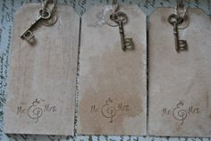 100 Mr. & Mrs. Medium Vintage Hang Tag. Vintage Wedding. Shabby Chic. Place Card. Blank. Skeleton Key Tag via Etsy