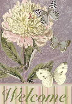 peony and butterflies welcome spring flag-Tina Higgins- 700 x 1000