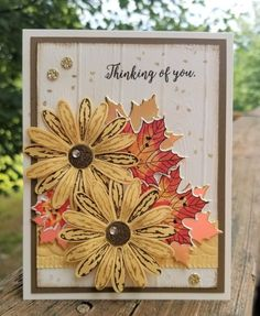 Stampin Up - Daisy Delight Thanksgiving Cards, Holiday Cards, Christmas Cards, Making Greeting Cards, Greeting Cards Handmade, Handmade Fall Cards, Daisy Delight Stampin' Up, Sunflower Cards, Leaf Cards