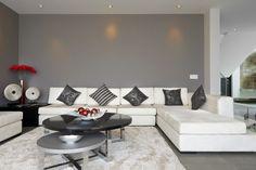 welche farbe passt zu grün modernes wohnzimmer grau neongrün couch ...