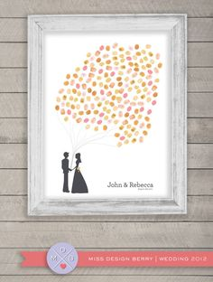 thumbprint wedding guest book alternative - fingerprint balloons with couple silhouette (printable)