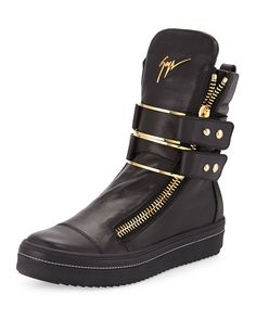 Giuseppe Zanotti Men's Leather High-Top Sneaker with Buckle, Black