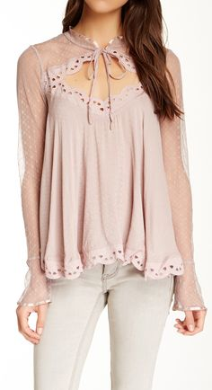 Scalloped blush blouse