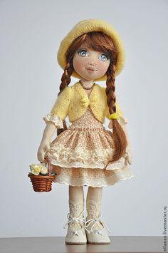Купить Анюта - жёлтый, текстильная кукла, авторская кукла, коллекционная кукла, интерьерная кукла, хлопок