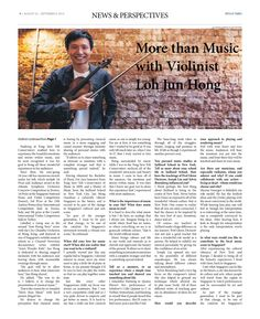 More than Music with Violinist Loh Jun Hong (Pg 2/3) --- (Epoch Times, Singapore Edition: Issue 493, Aug 22 – Sept 4, 2014)