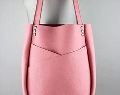 De cuero rosa bandolera/burbuja goma cuero rosa cuero llevar bolso de mano grande con bolsillos exteriores – SMaroPink