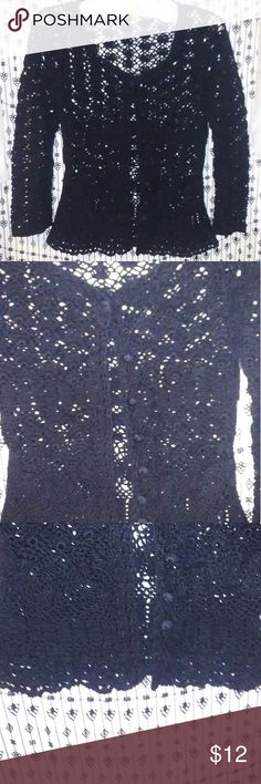 Just In🌻Black Crochet blouse In excellent condition this pre-loved black crochet jacket is beautiful over anything. Tapemeasure Tops Blouses