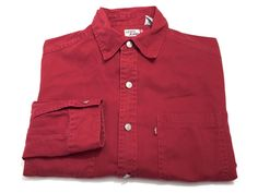 Levi's M Red Men's Denim Red Tab Metal Button Up Long Sleeve Shirt Medium #Levis #ButtonFront