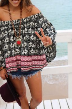 Elephant print loose summer shirt