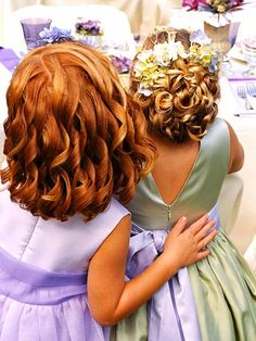 A Crown of Flowers  Flower girls can look lovely with a simple headband of silk or fresh flowers in their hair.