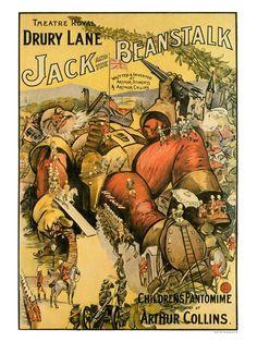 Vintage Theatre Poster - Jack and the Beanstalk - Drury Lane Theatre - London