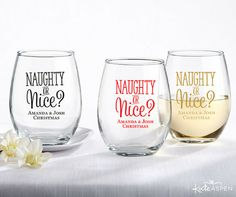 """Naughty or Nice?"" Stemless Wine Glasses"