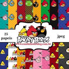 Kit Digital de papeis Angry Birds Grátis para baixar