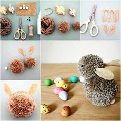 DIY Easter Pom-Pom Bunnies - The Crafts Dept.
