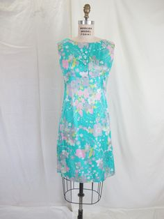 1960s Designer Silk Floral A-Line Dress and Jacket, Turquoise Pink Grey Floral William Coppola Ruffolo NY