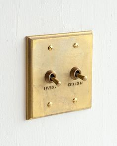 The look of these sandcasted brass Futagami light switches is so sophisticated. Switching the light on or . Brass Shelf Brackets, Vintage Industrial Decor, Hardware, Switch Plates, Home Decor Inspiration, Decor Ideas, Decoration, Home Remodeling, Home Accessories