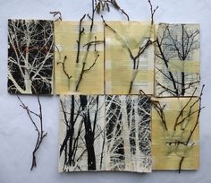 """About the work where she fastens twigs to books using large swaths of tape (see the 2nd image below), Seidel writes in her blog, """"Instead of going on with their stories, these books remember where they came from and how everything began. I offered them black and white pictures of tree parts and dried twigs, all from my immediate surrounding. The books venture into a kind of regression therapy, where painful moments from childhood or even earlier lives are relived."""""""