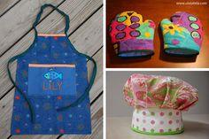 Tutoriales Kit de cocina para niños: Delantal, guante y gorro de chef