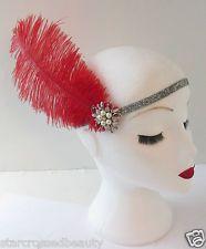 Red Silver Ostrich Feather Flapper Headpiece by Starcrossedbeauty Flapper Headpiece, Gatsby Headband, Vintage Headpiece, Headpiece Jewelry, Silver Headband, Vintage Headbands, Feather Headband, Rhinestone Headband, Pearl Headband