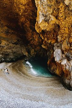 Cave at the beach Anamaki (Damian), Hiliadou, Evia, Greece // by Vagias Katsos… Greece Vacation, Greece Travel, Places To Travel, Places To See, Famous Places, Paradis, Greek Islands, Solo Travel, Tourism