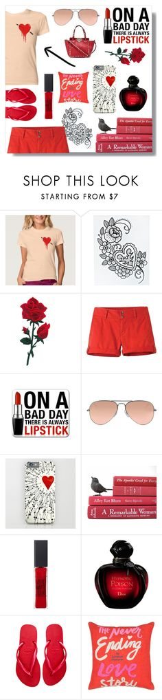 """""""Lovesick"""" by bethany-ransom ❤ liked on Polyvore featuring Mountain Khakis, Ray-Ban, Maybelline, Havaianas, Kate Spade and Valentino"""
