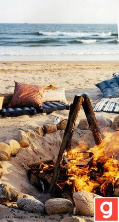 camp fire on the beach. . Outter Banks :)))