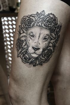 line work lion with rose mane