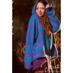 Kashmiri Pixie Hood Sweater (Mostly Blue) Jacket Hoodie Pixie Hood... ($49) ❤ liked on Polyvore featuring tops, blue, sweaters, women's clothing, boho chic tops, boho gypsy top, hooded top, tribal top and boho style tops