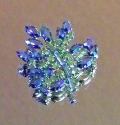 Signed B David Blue AB Aurora Borealis Rhinestone Leaf Brooch Pin Silver 43   eBay https://www.facebook.com/AColourfulPast
