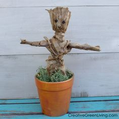 Have you ever wanted your very own Baby Groot in a pot? Now you can make one with recycled toilet paper rolls and have your own chia head-inspired planter craft inspired by Guardians of the Galaxy!