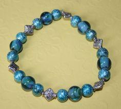 DesignsByLinda- Teal Blue Foil Glass Silver Bracelet